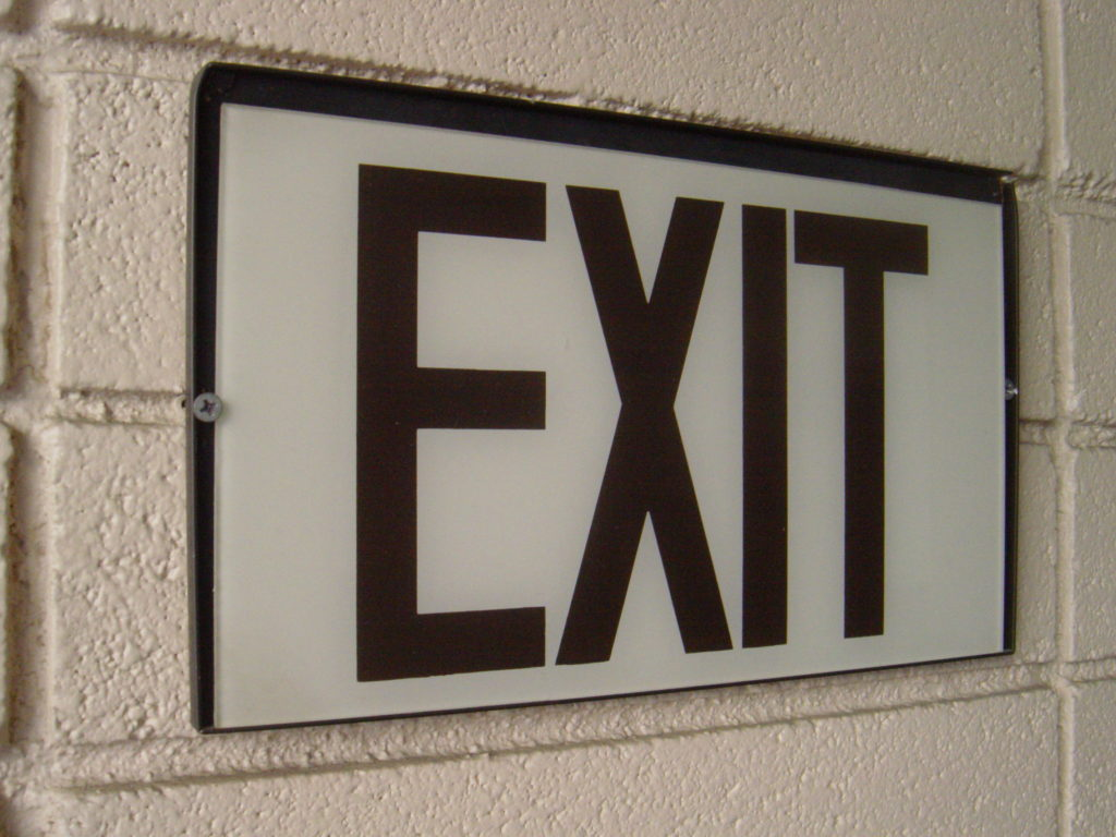 Exit interview sign